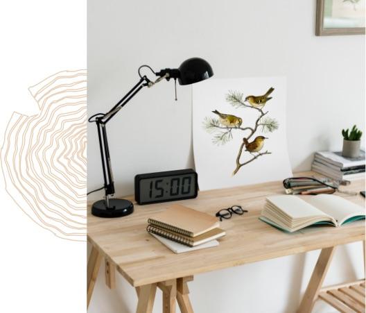 L'extension en bois est idéale pour se créer un espace dédié au travail